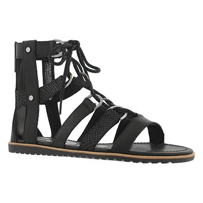 Lds Ella Lace Up black casual sandal