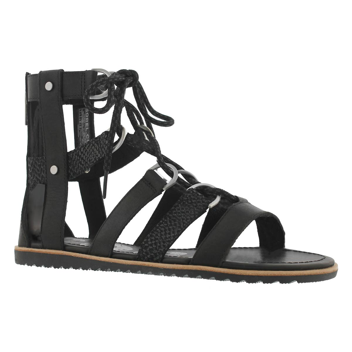 Women's ELLA lace up black casual sandals