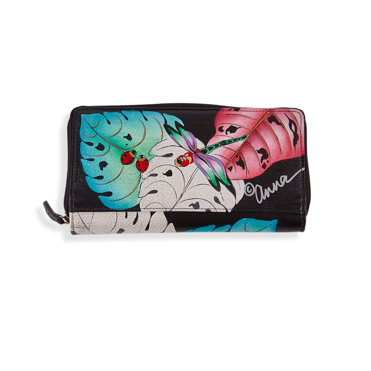 Painted leather Lovely Leaves wallet