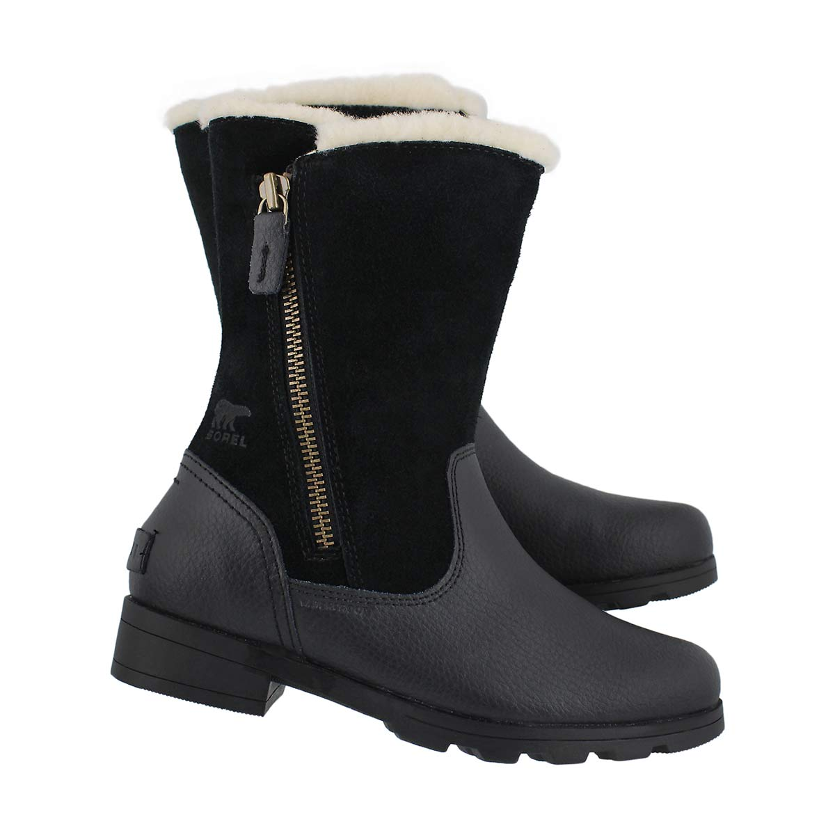 Grls Emelie Foldover black casual boot