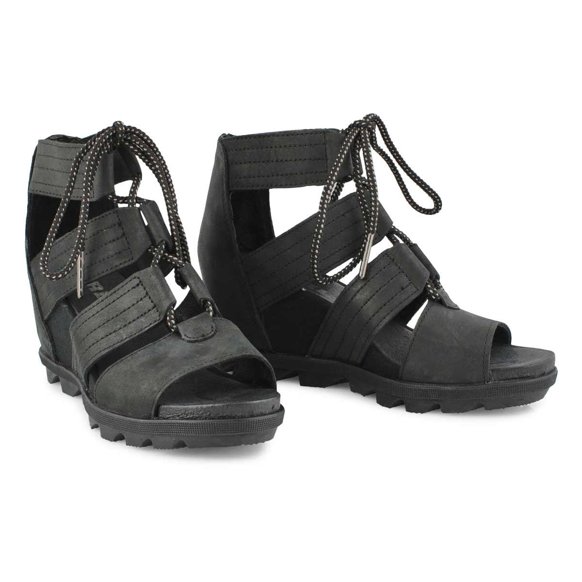 Lds Joanie II Lace blk wedge sandal