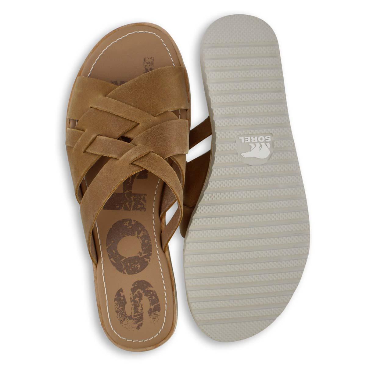 Lds Ella camel brn casual slide sandal