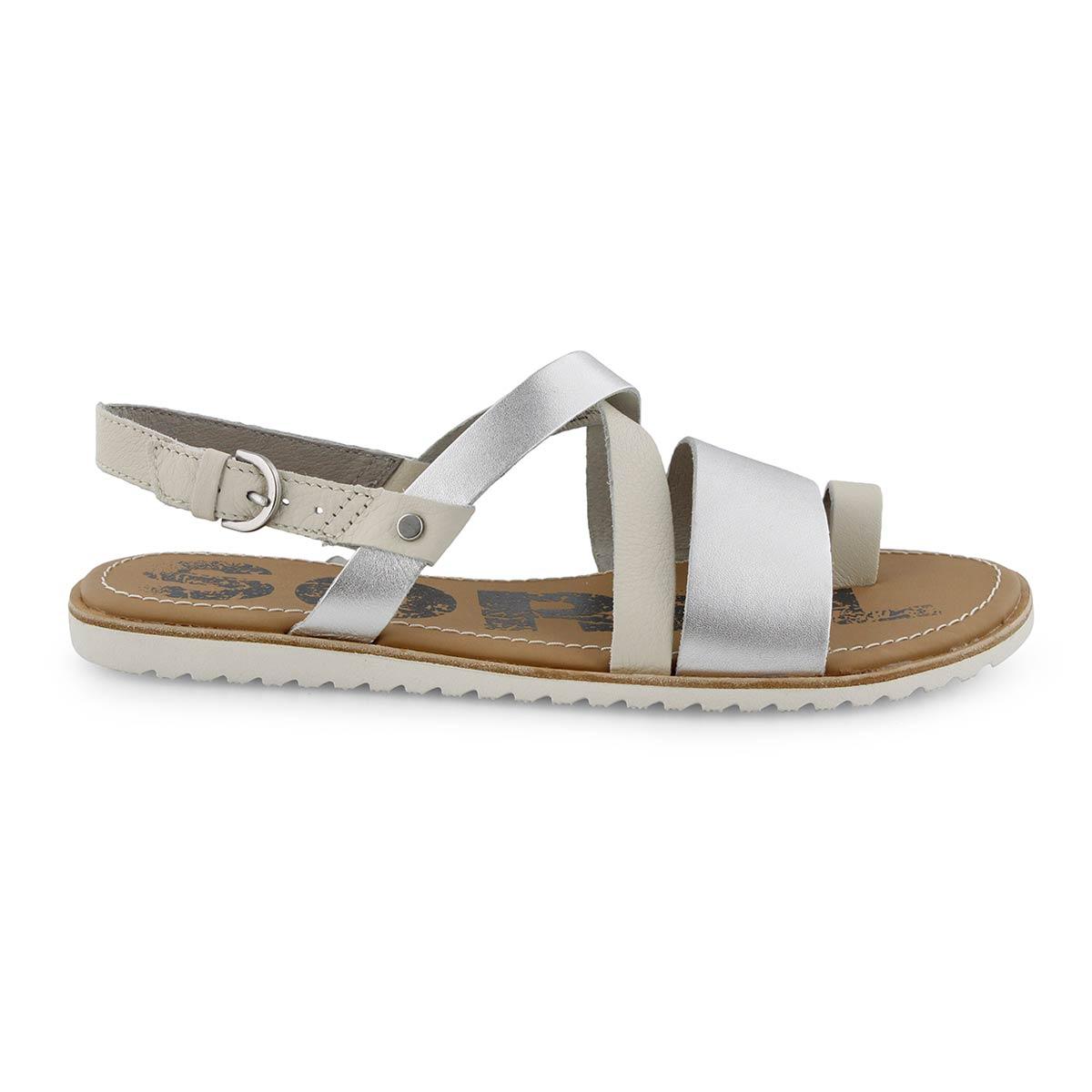 Lds Ella Criss Cross slvr casual sandal