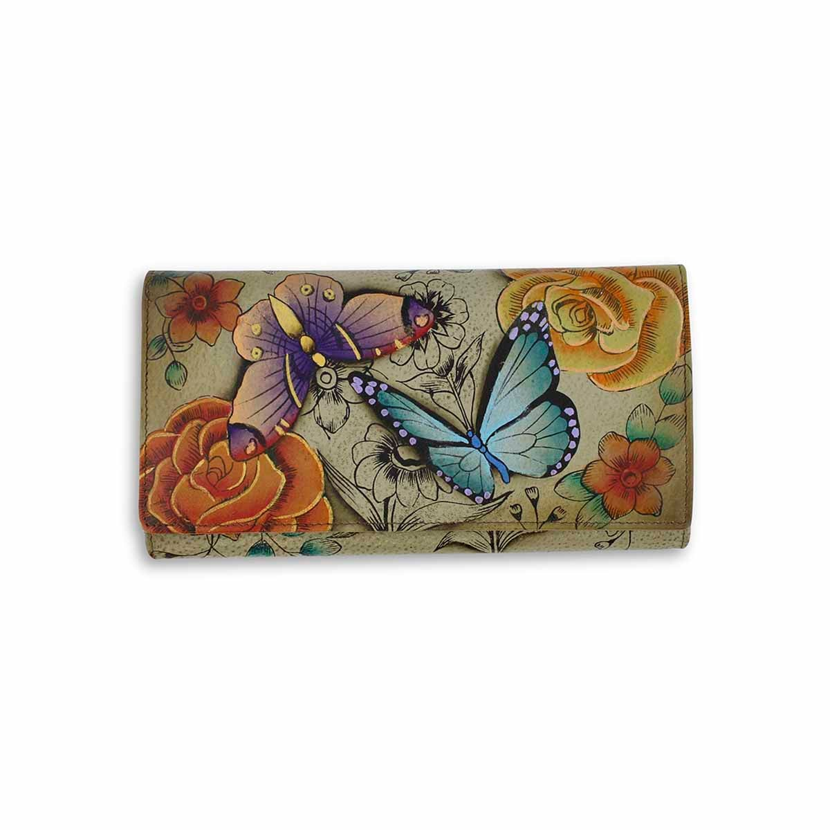 Painted lthr Floral Paradise Tan wallet