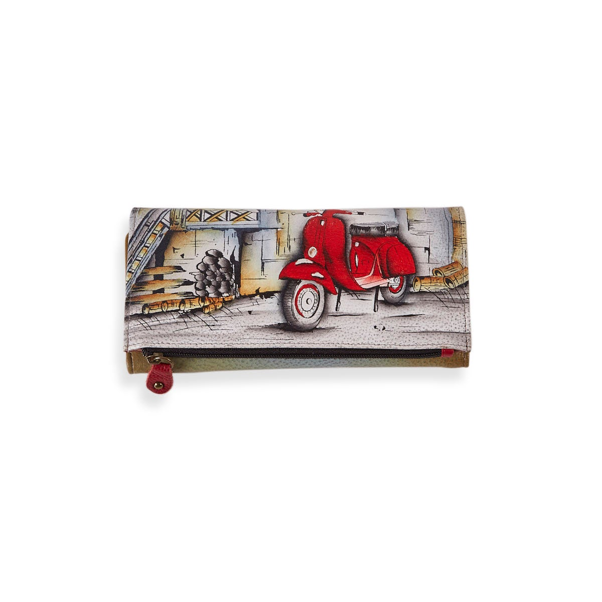 Painted lthr Roman Dreams wallet