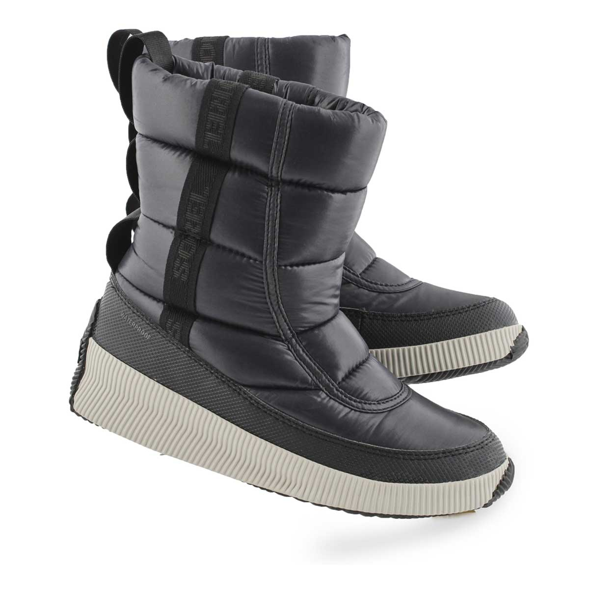 Lds Out 'N About Puffy Mid blk wtpf boot