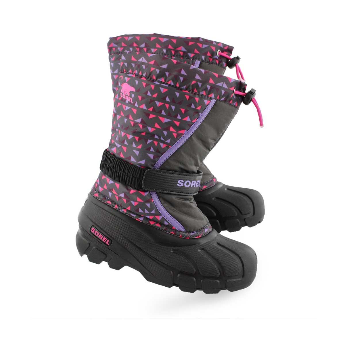 Grls Flurry Print gry/pnk winter boot