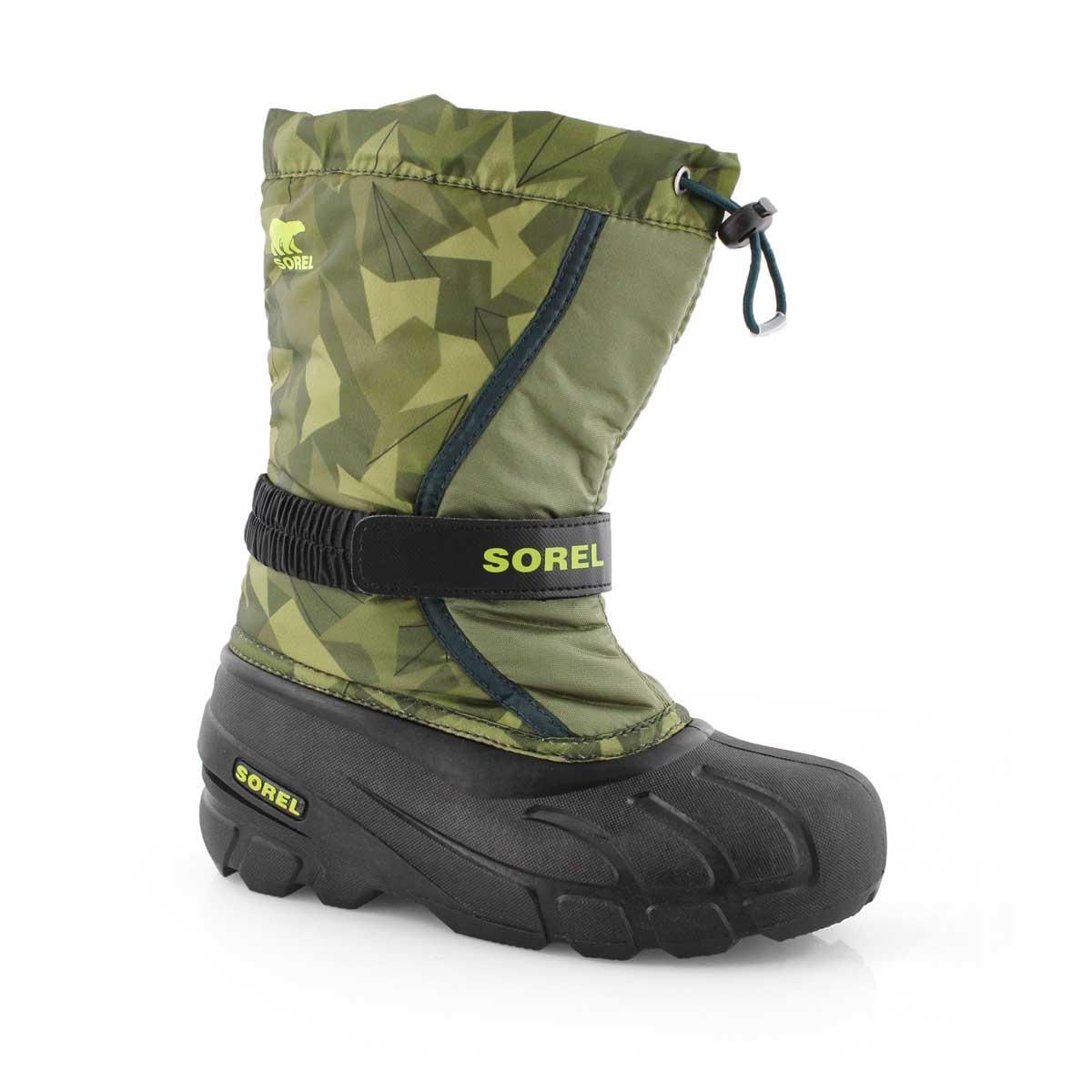 Bys Flurry Print grn/blk winter boot