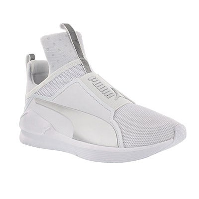 Lds Fierce Core wht/slvr slip on sneaker