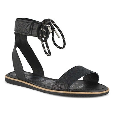Lds Ella Ankle Lace black casual sandal