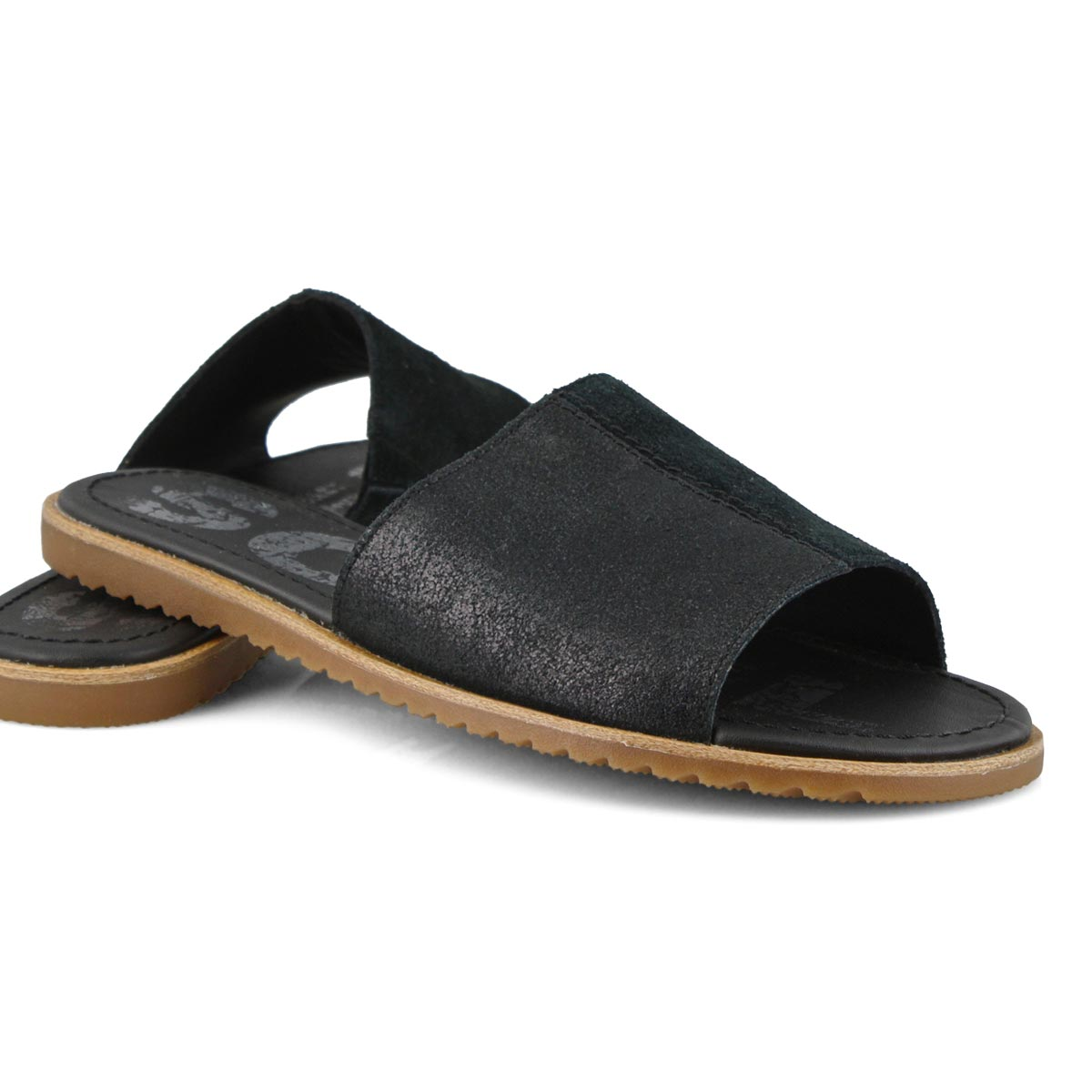 Lds Ella Block black casual slide sandal