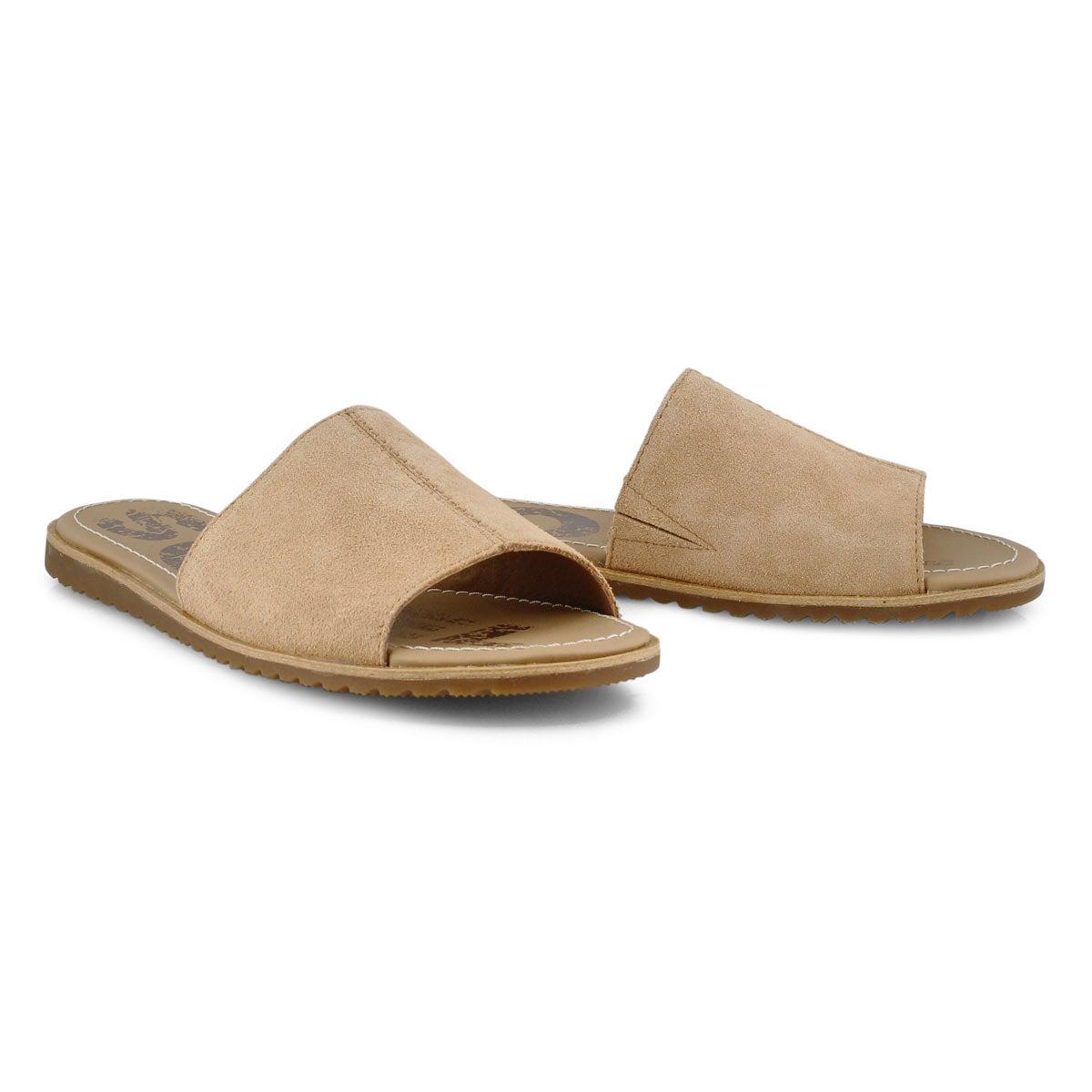 Lds Ella Block honest beige slide sandal
