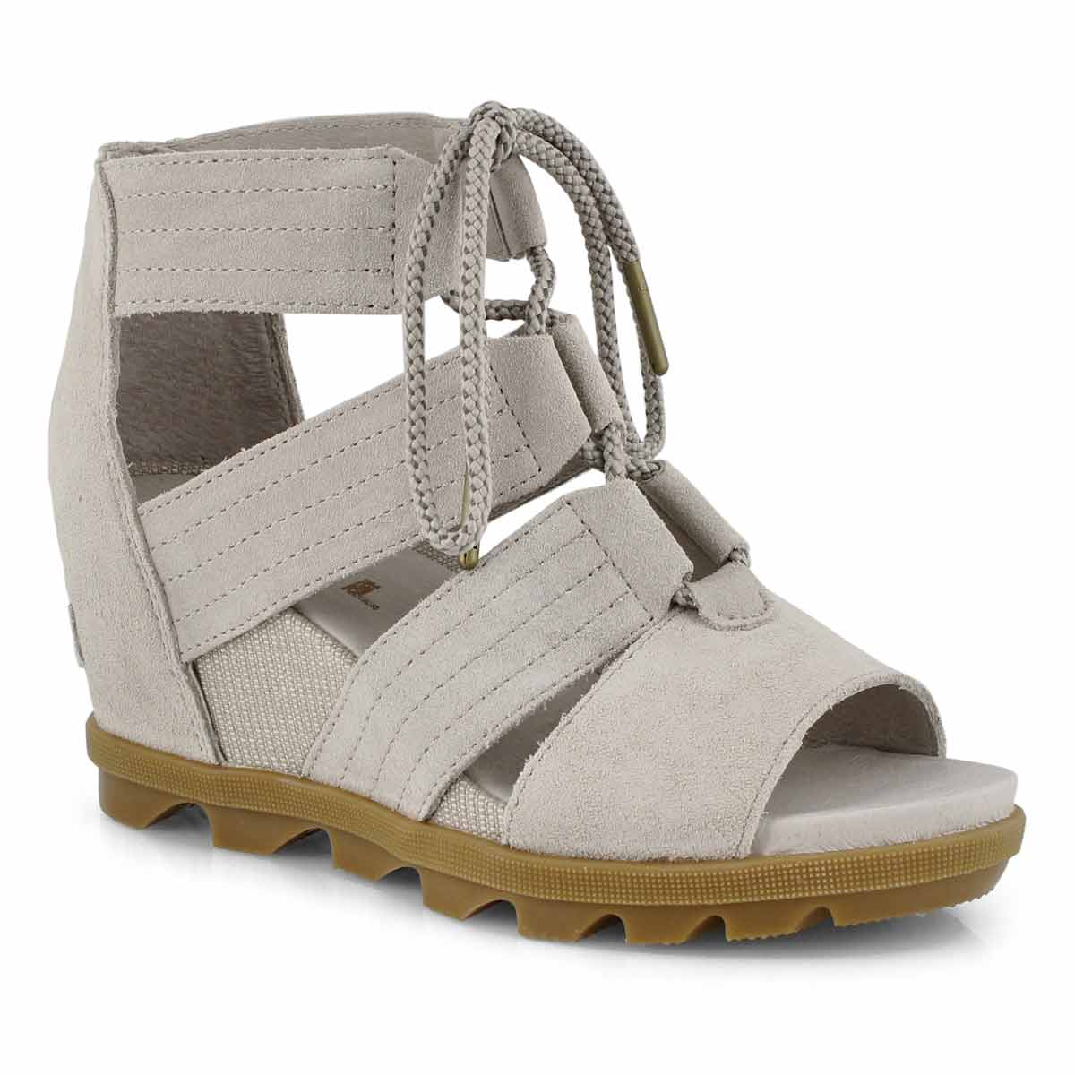 Lds Joanie II Lace soft taupe wedge sndl