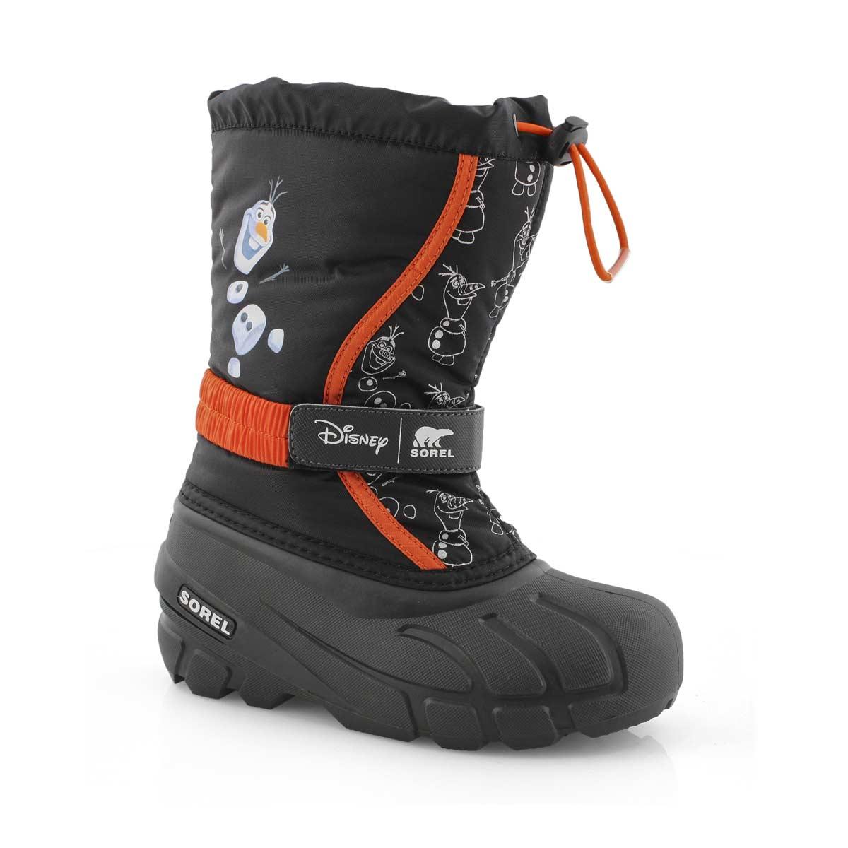 Boy's DISNEY FLURRY FROZEN OLAF black boot