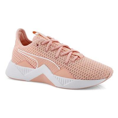Lds Incite FS peach/wht lace up sneaker