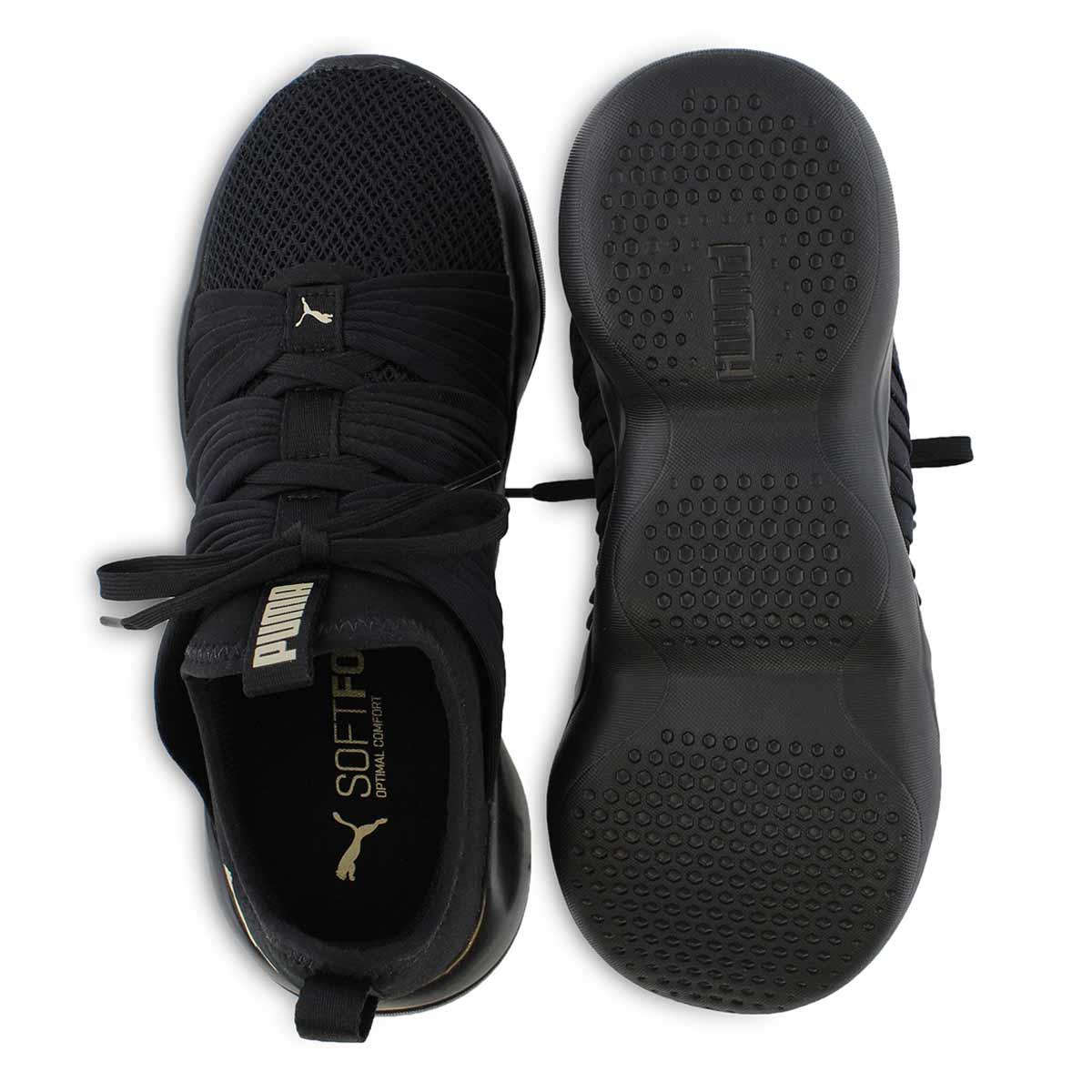 Lds Flourish blk/gld slip on sneaker