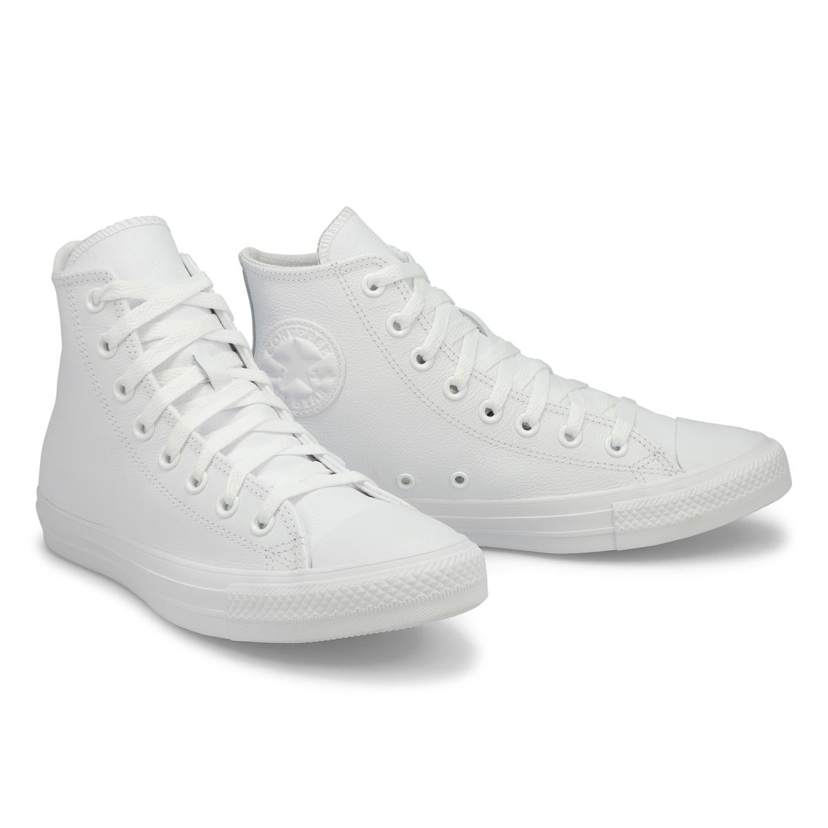 Lds CTAS Leather Hi wht mono snkr