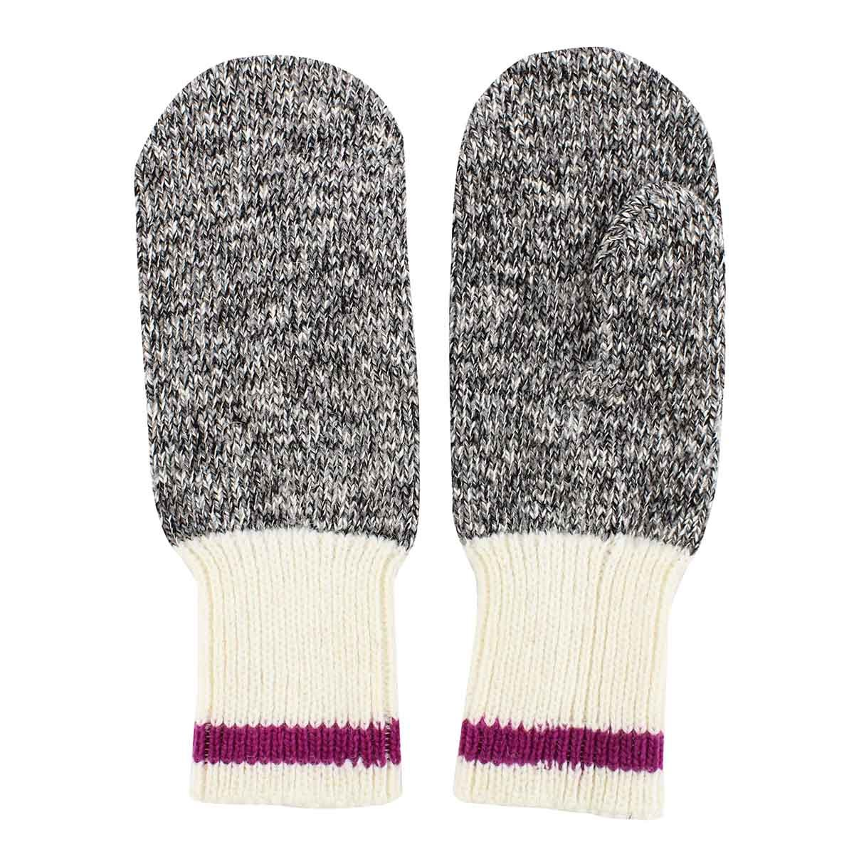 Lds Duray marled grey/ pink mitten