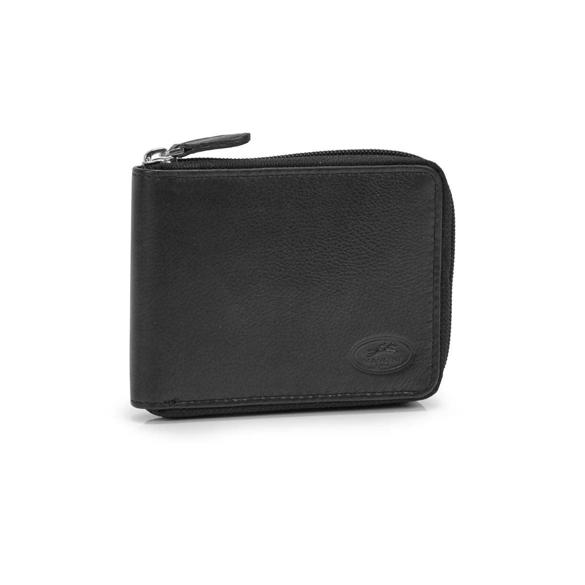 Men's ZIP AROUND black RFID secure wallet