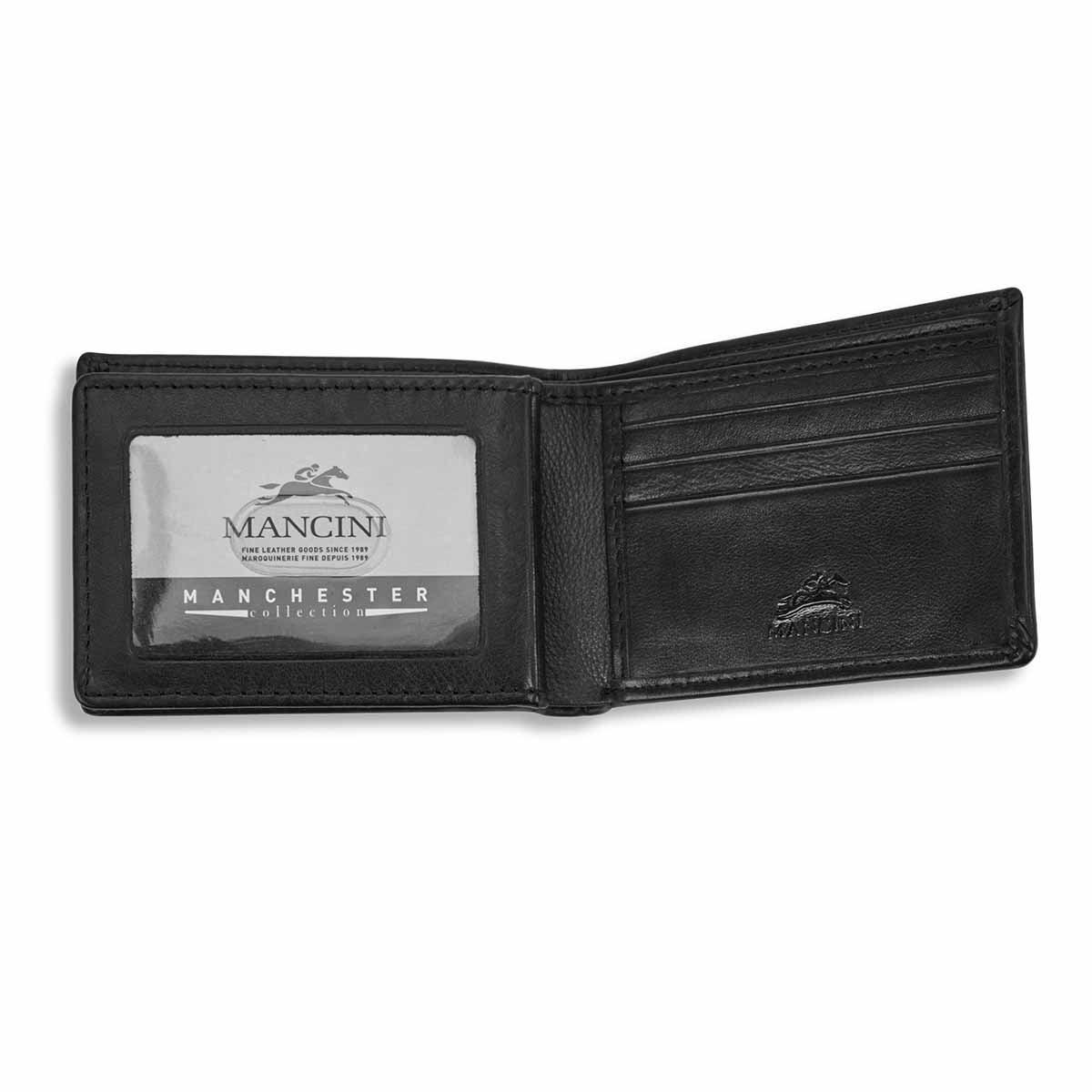 Mns center wing black RFID secure wallet