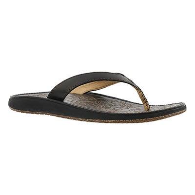 Lds Paniolo black/black thong sandal