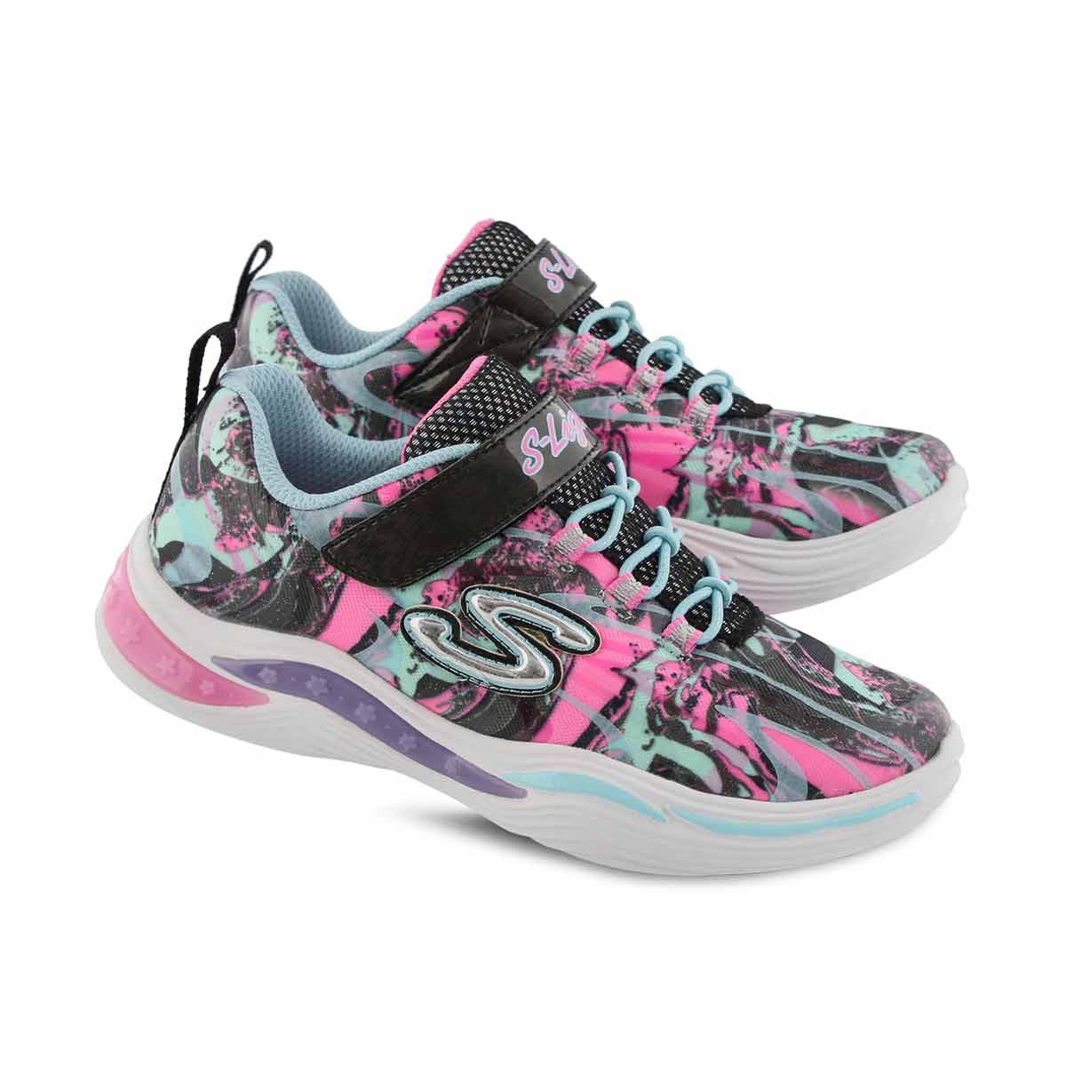 Grls Power Petals blk multi sneaker