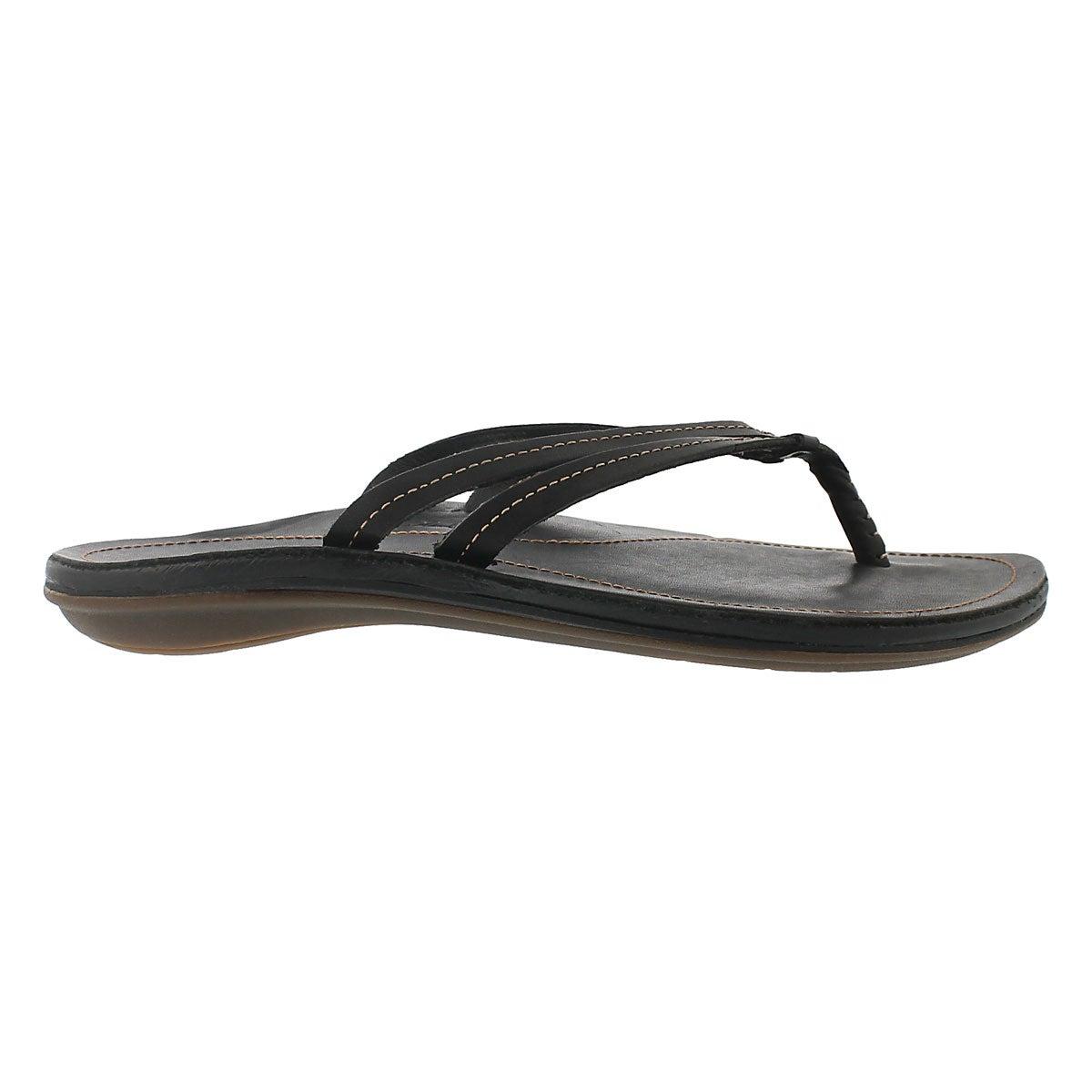 Lds U'I black thong sandal