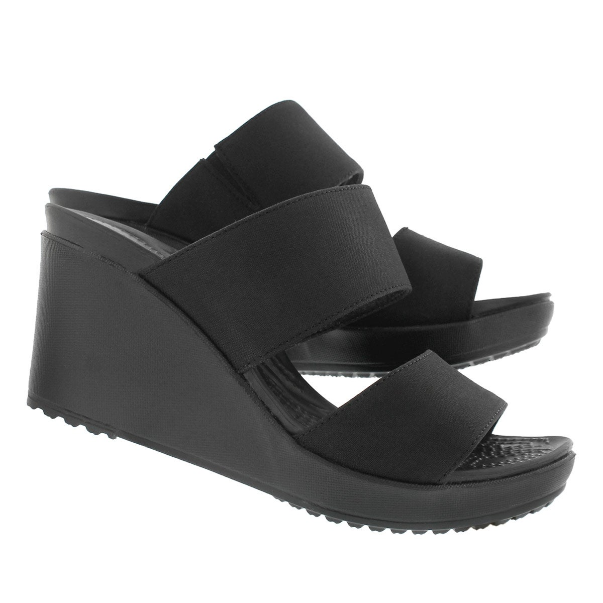 Lds Leigh II 2-Strap black wedge sandal
