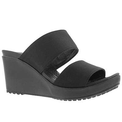Lds Leigh II 2-Strap black wedge sandal