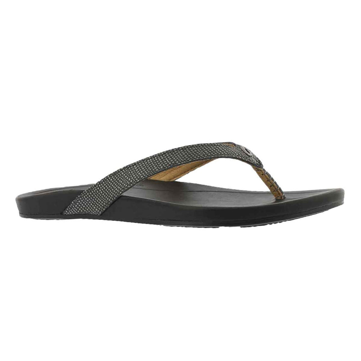 Lds Hi'ona pewter/blk thong sandal