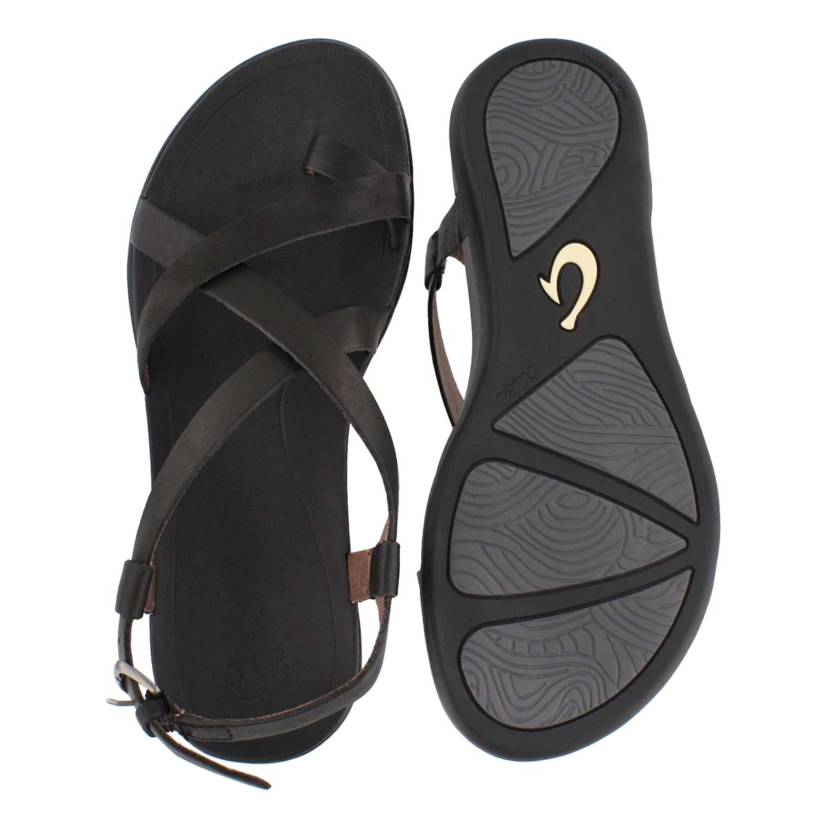 Lds Upena blk/blk toe loop casual sandal