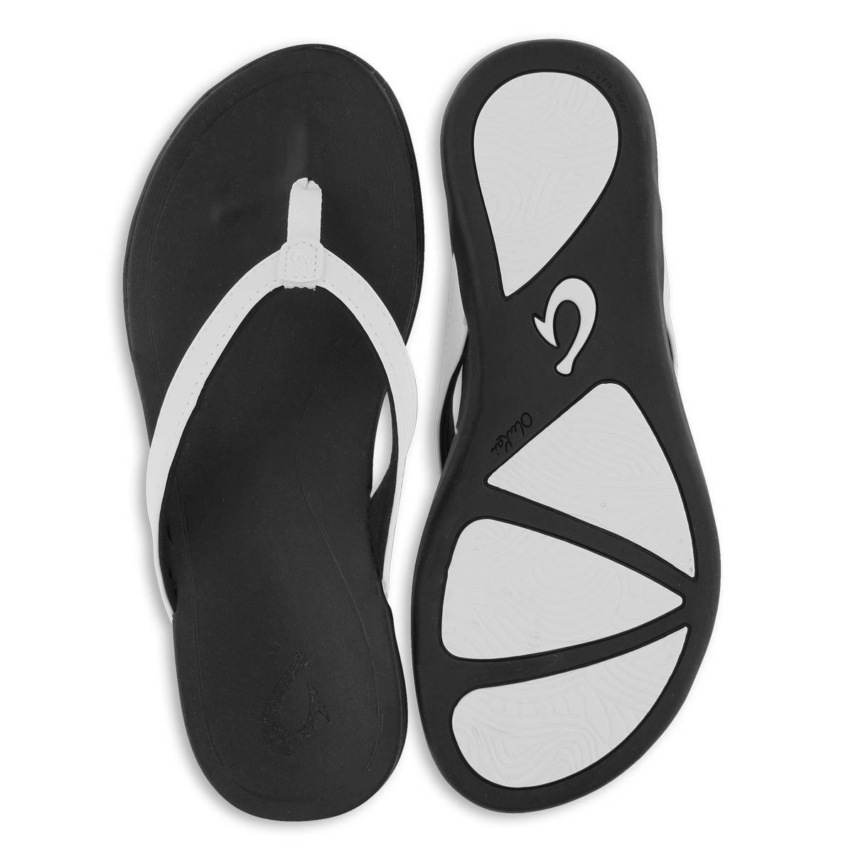 Lds Ho'Opio white/onyx thong sandal