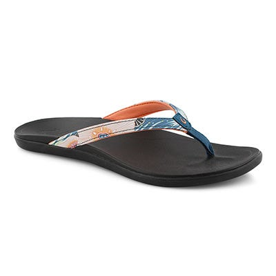 Lds Ho'Opio teal/coral/blk thong sandal
