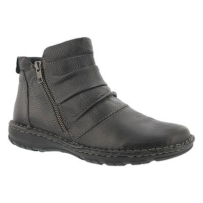 Lds Carson black leather ankle boot