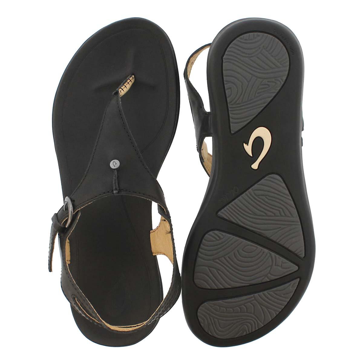 Lds Eheu blk/blk thong sandal