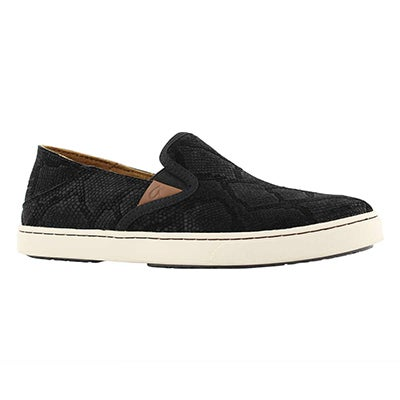 Lds Pehuea Leather blk slip on shoe