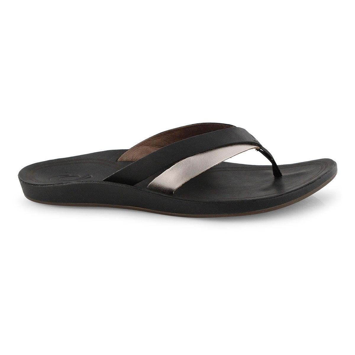 Lds KaeKae black/silver thong sandal