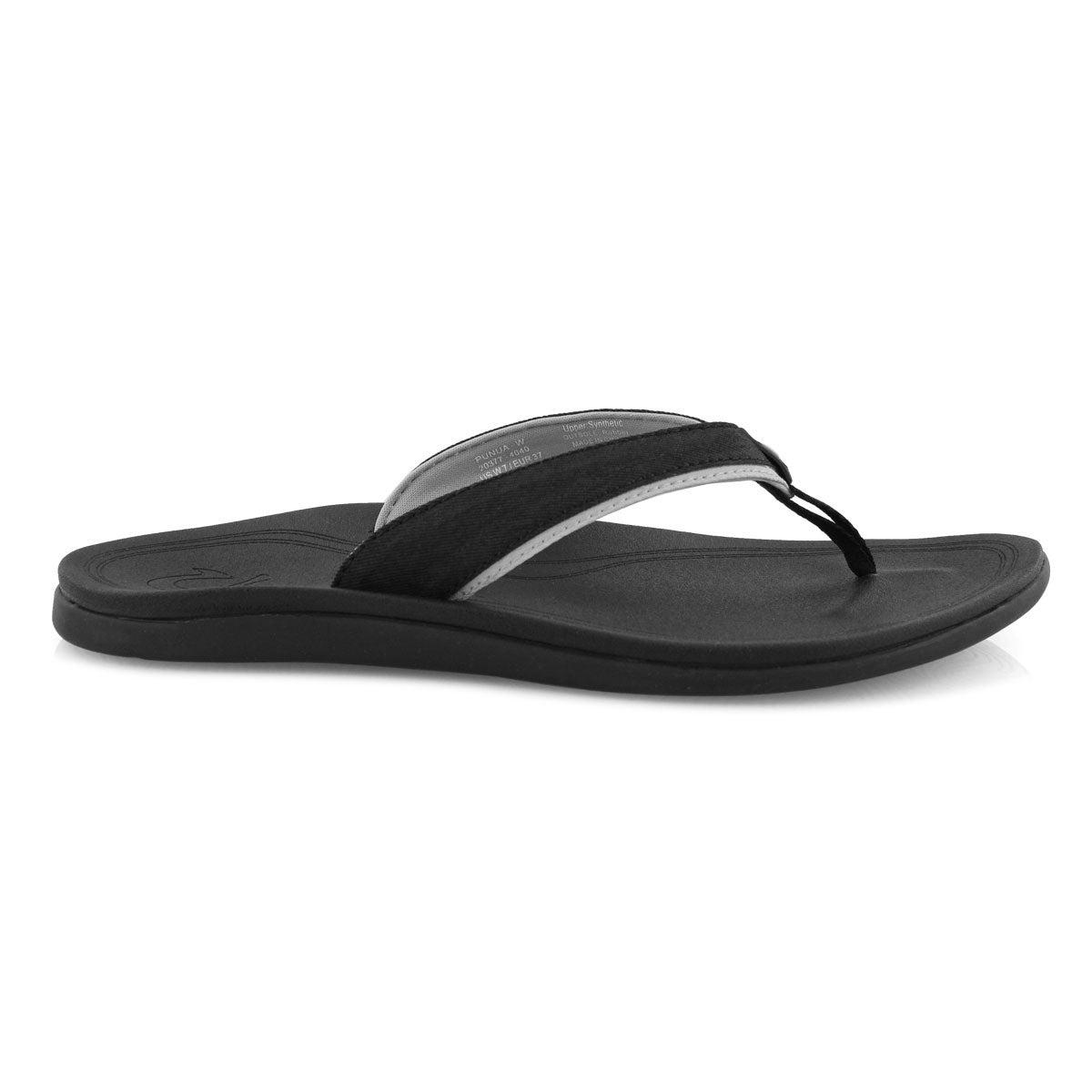 Lds Punua blk/blk thong sandal