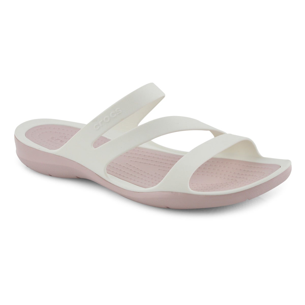 Lds Swiftwater wht/rose slide sandal
