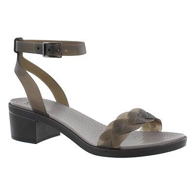 Lds Isabella Block Heel blk/grpht sandal