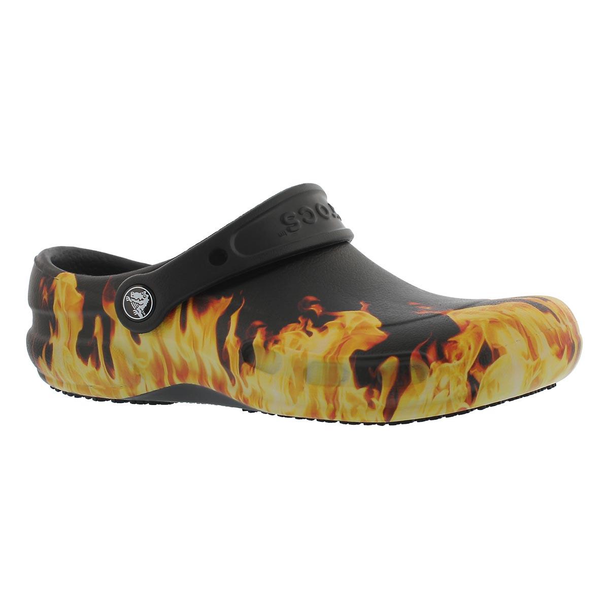 Unisex BISTRO GRAPHIC black flames clogs