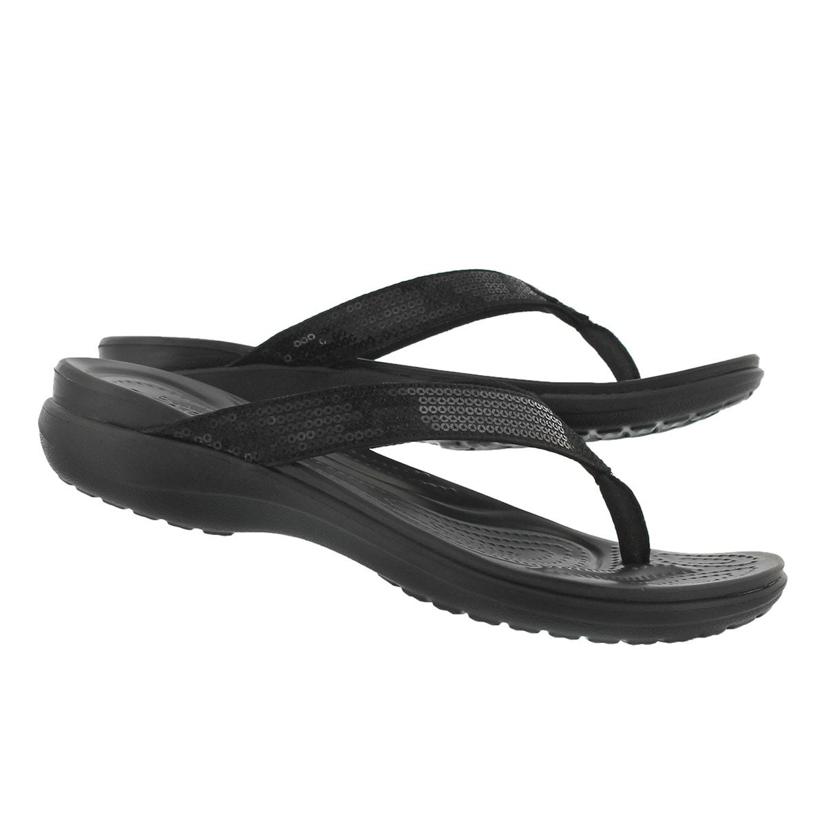 Lds Capri V Sequin black thong sandal