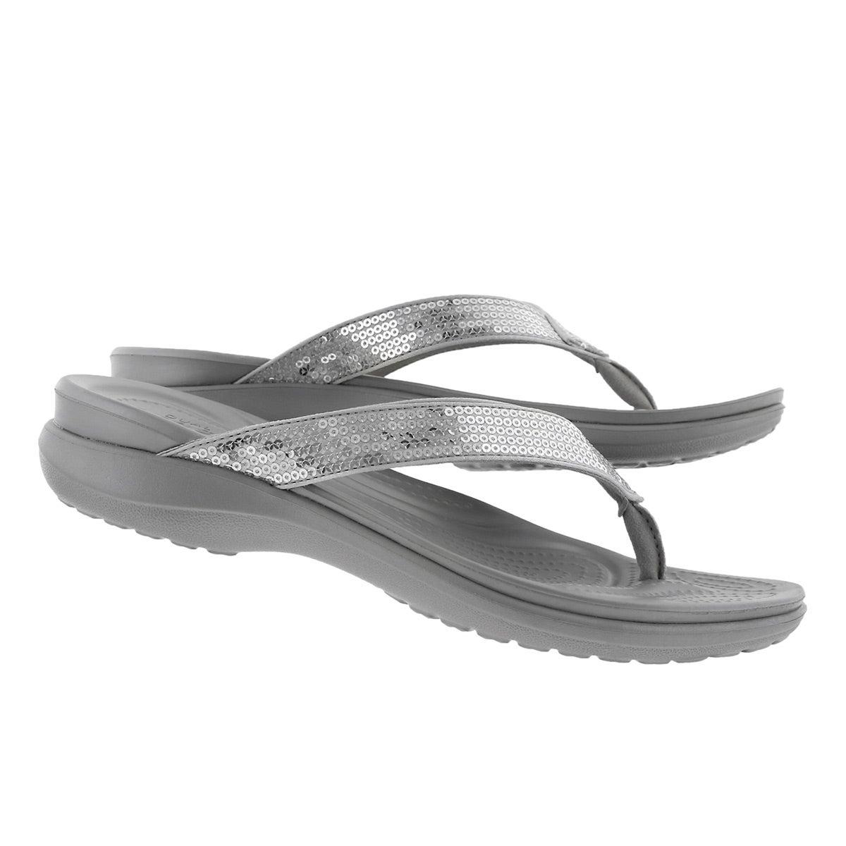 Lds Capri V Sequin silver thong sandal