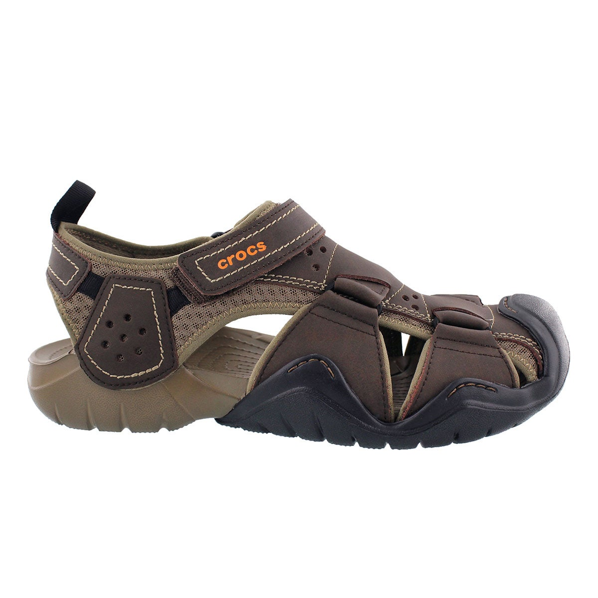 Crocs men 39 s swiftwater leather fisherman sandal ebay for Crocs fishing shoes
