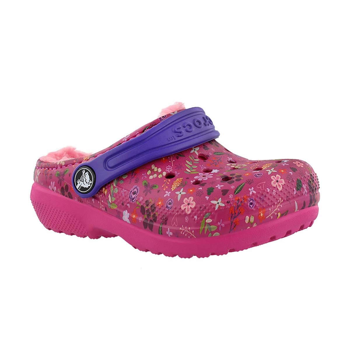 Girls' CLASSIC LINED GRAPHIC candy pink clogs