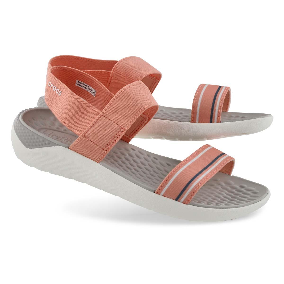 Lds LiteRide melon/wht casual sandal