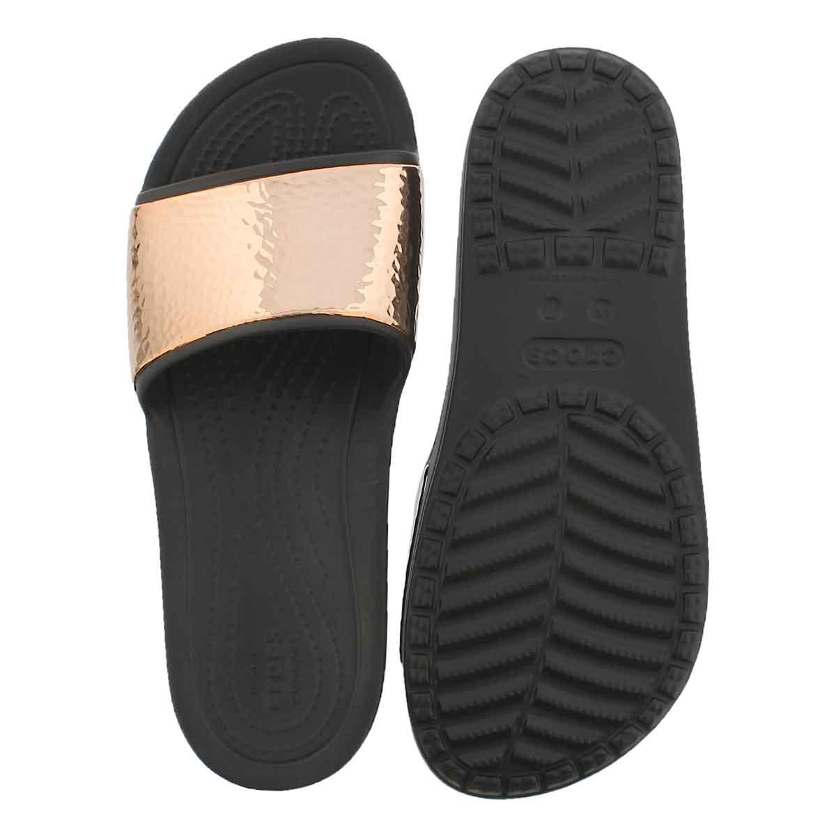 Lds Sloane Hammered blk/rse gld sandal