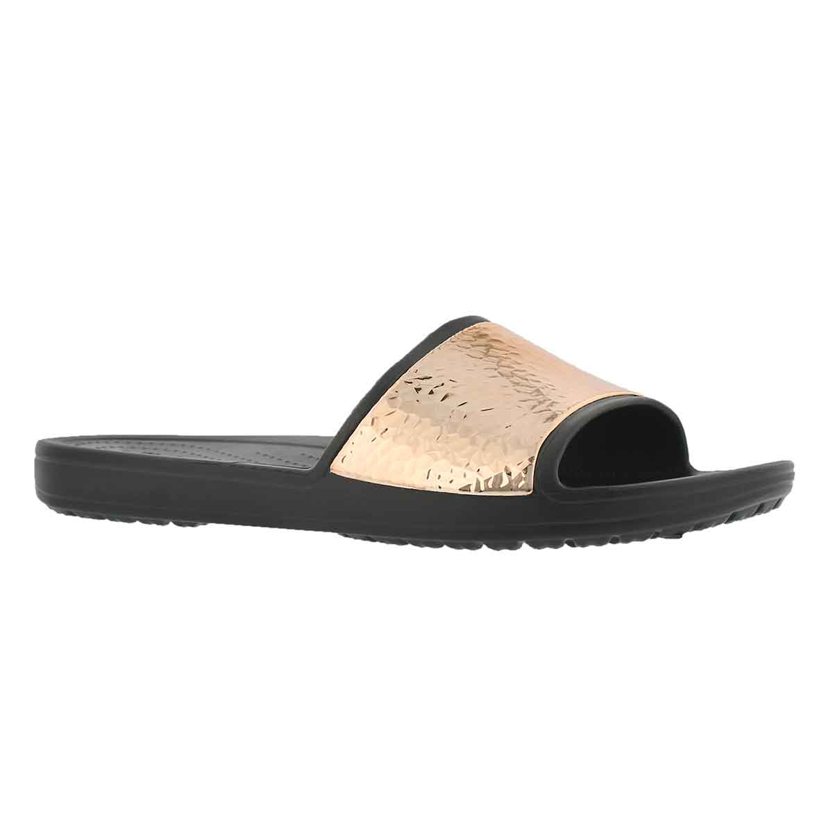 Women's SLOANE HAMMERED black/rose gold sandals