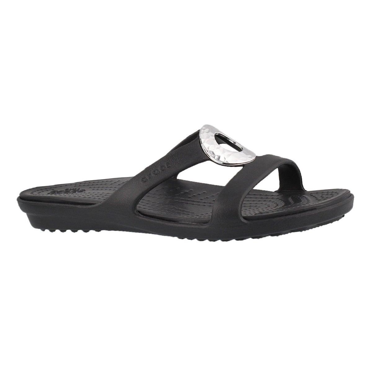 Women's SANRAH HAMMERED blk/blk slide sandals