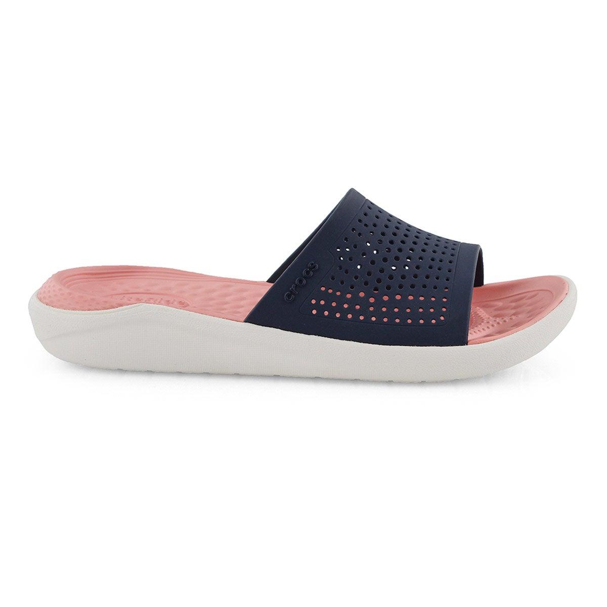 Lds LiteRide navy/melon slide sandal